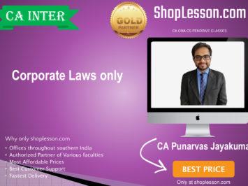 CA Intermediate – May/Nov 20, Corporate and Other laws (Paper 3) By CA Punarvas Jayakumar Regular Downloadable